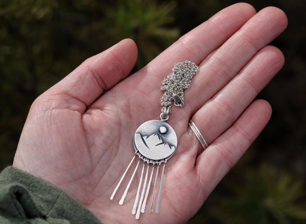 Mountains & Tall Pines Reversible Pendant. Reclaimed Sterling Silver