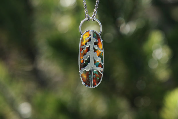"Reversible Lone Pine Pendant, Sterling Silver + Turquoise. 18""-20"""