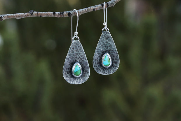 Reclaimed Sterling Earrings. Turquoise Accent #3