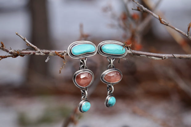 Dangler Stud Earrings: Sterling + Turquoise, Rhodochrosite #3
