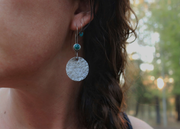 Tidbits of Turquoise - Sterling Silver Hoop Earrings