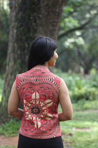 Madhubani art Juco Jacket-Red-Reversible