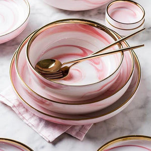 Pink Marble Ceramic Dinner Dish Plate