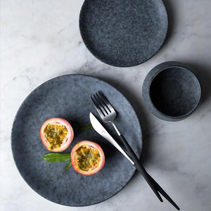 Grey Marbled Round Plates