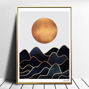 Golden Waves Canvas Poster