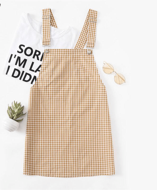 Gingham Ginger Ladies Pinafore