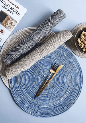 Cobalt Lemon Dinner Placemats