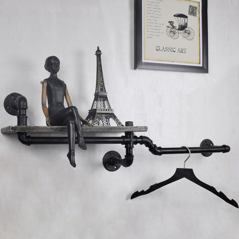 Industrial Pipe & Wood Wall Shelf Bookcase