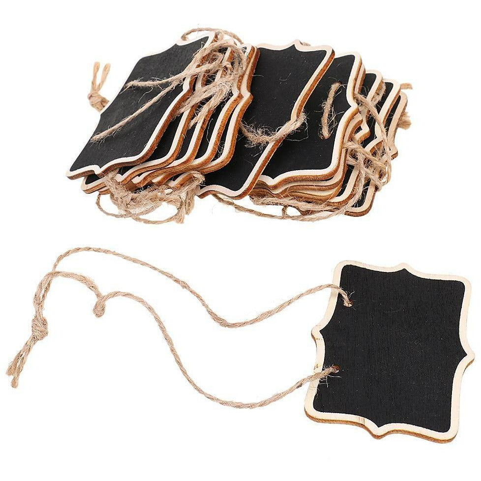 30 Pc. Mini Wooden Blackboard Hanging Message Board