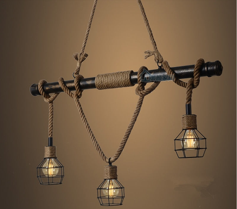 American Country Edison Industrial Vintage Metal Water Pipe Hemp Rope Pendant Light
