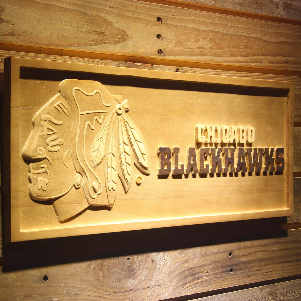 Chicago Blackhawks 3D Wooden Sign