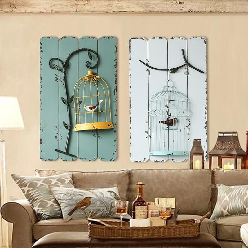 Figurines & Miniatures - Creative Mural Wrought Iron Birdcage