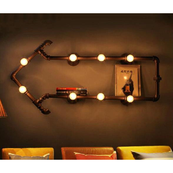 Industrial Rustic Arrow Pipe Wall Lamp