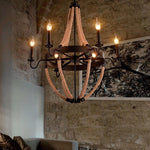 Industrial Rustic Hemp Rope Chandelier
