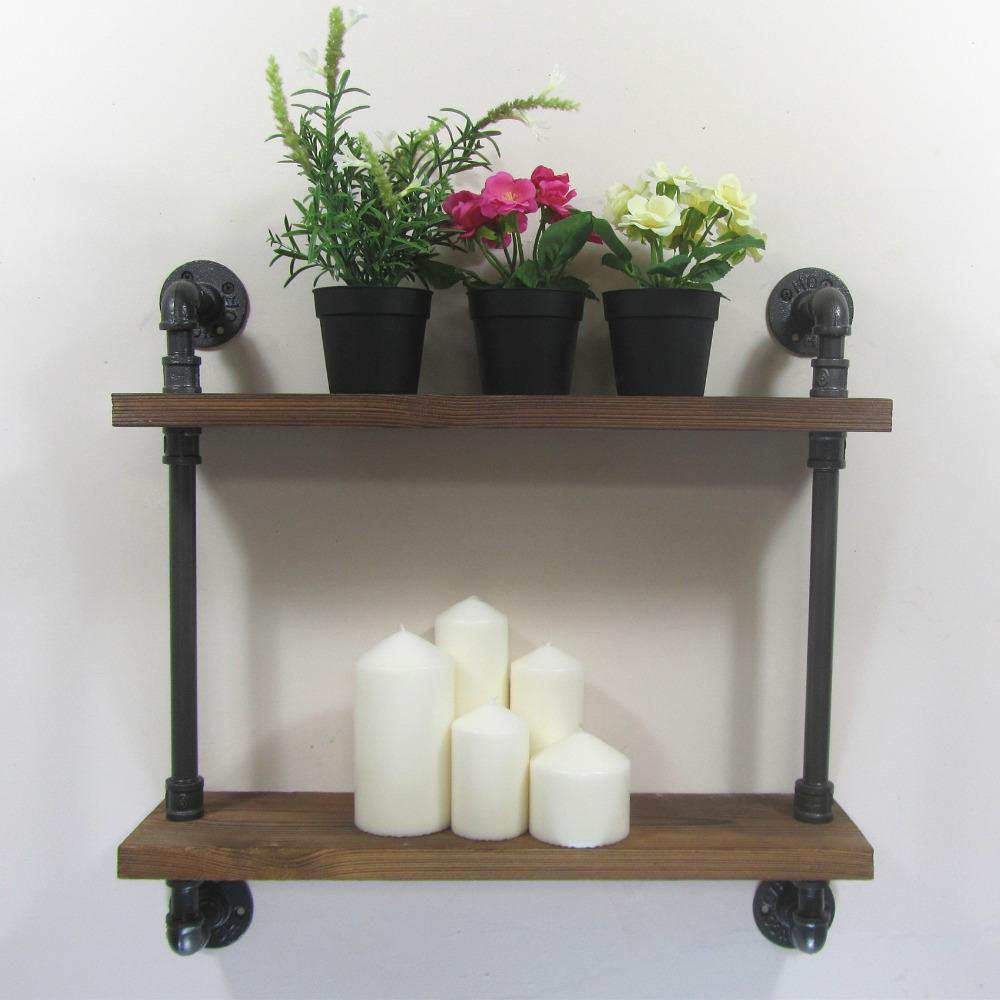 Industrial Rustic Urban Iron Pipe Wall Mounted 2 Shelf