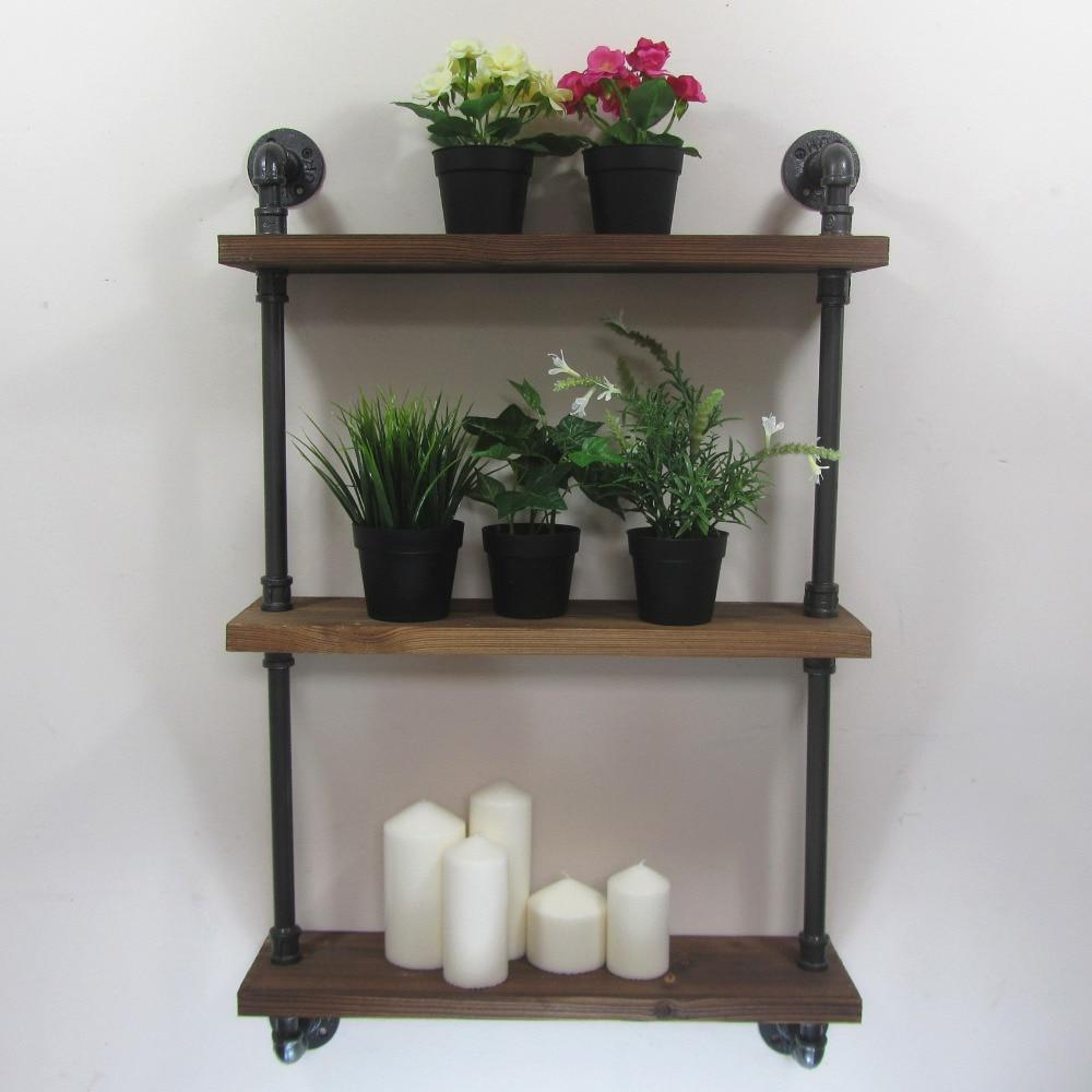 Industrial Rustic Urban Iron Pipe Wall Mounted 3 Shelf
