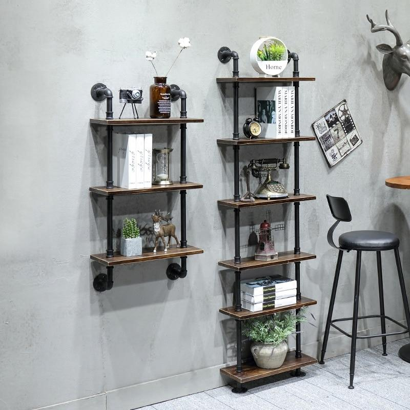 Industrial Rustic Urban Steel Pipe Wall Mounted Shelf