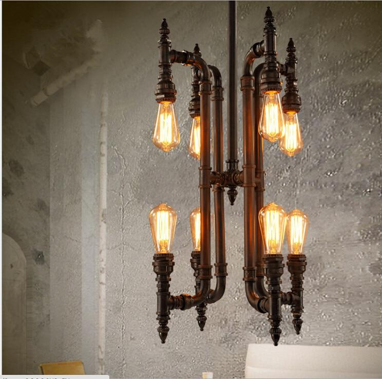 Industrial Wrought Iron Water Pipe Chandelier
