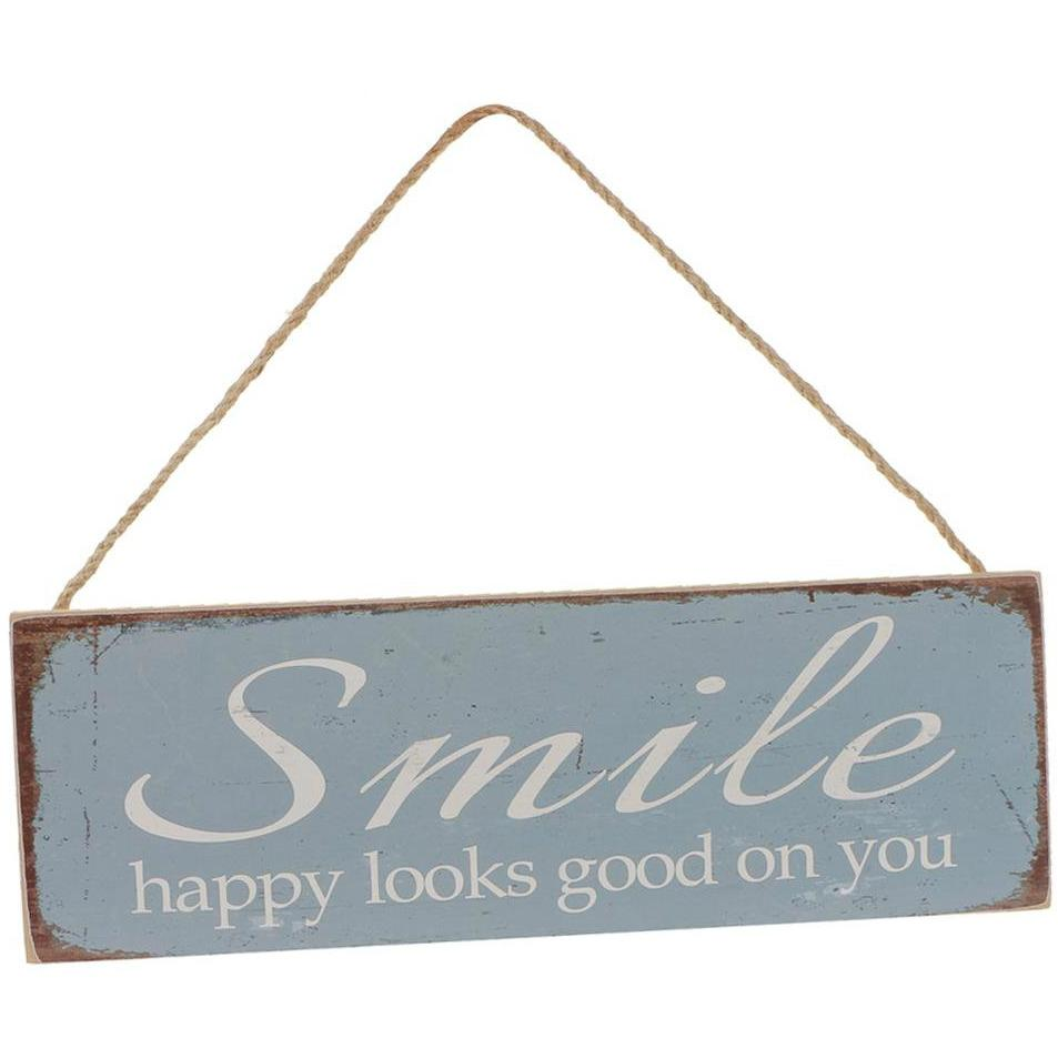 NOT AVAILABLE - Rectangle Vintage Wooden Smile Hanging Sign