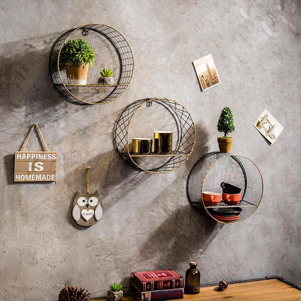 Retro Wall-Mounted Metal Rack Home Decor