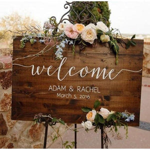 Party Direction Signs - Personalized Rustic Wooden Welcome Sign