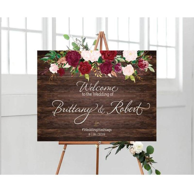 Party Direction Signs - Personalized Wood Wedding Welcome Sign With Flowers