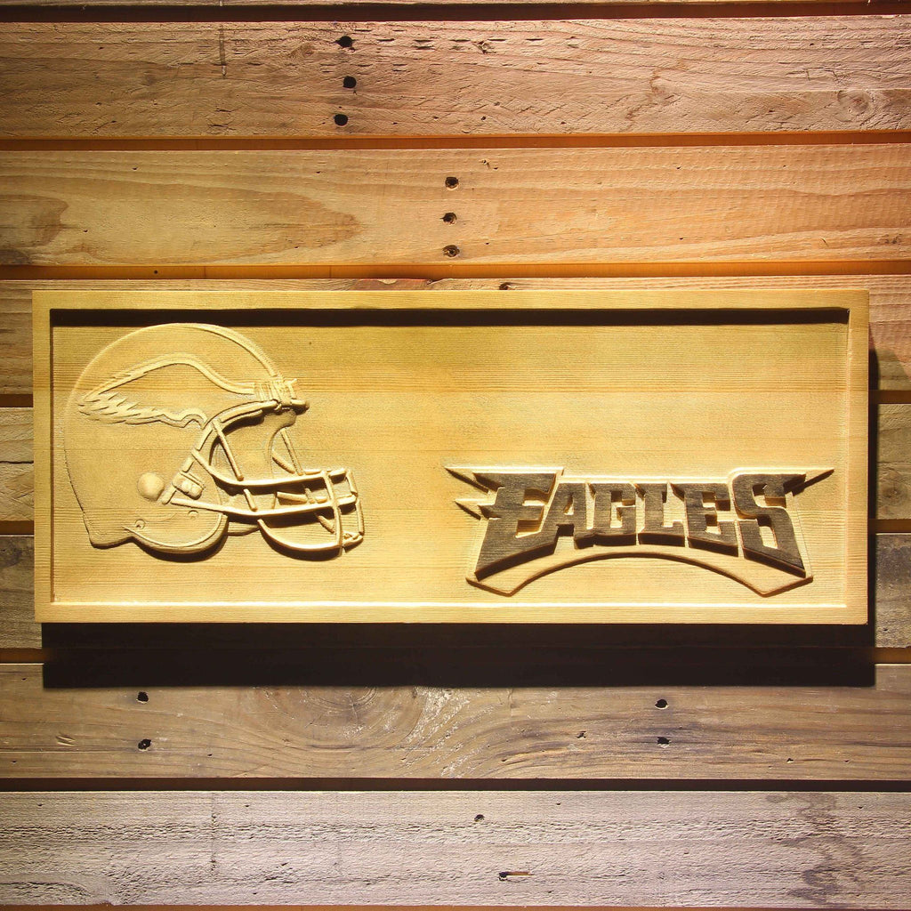 Philadelphia Eagles Helmet 3D Wooden Sign