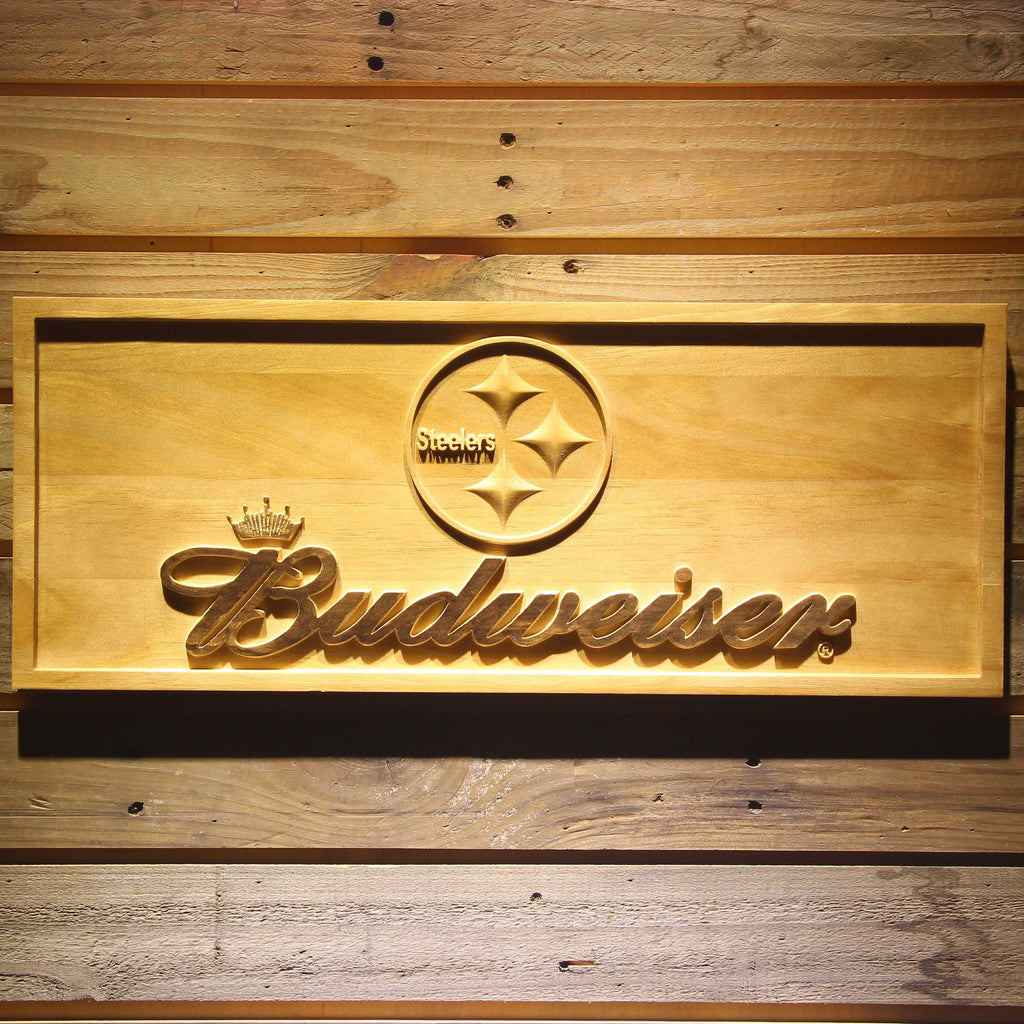Pittsburgh Steelers Budweiser Beer 3D Wooden Bar Sign