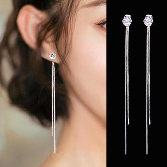 Silver Plated Dangle Hanging Gem Stone Rhinestone Long Drop Earrings For Women Tassel Jewelry
