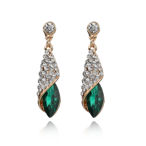 green stone drop earring