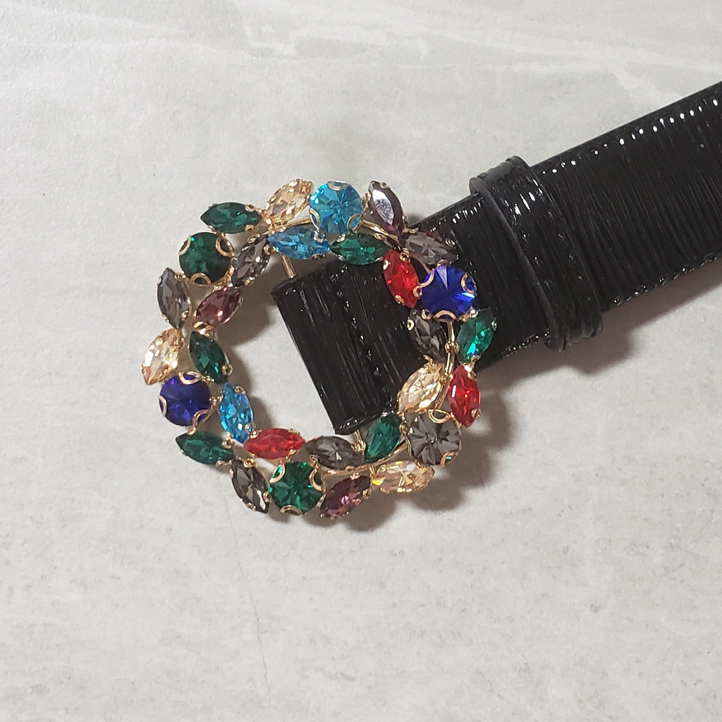 Rainbow Jeweled Buckle Waist Belt - Two 12 Fashion