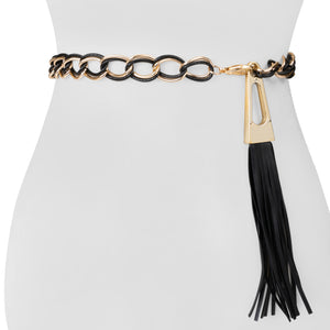 Double Chain Women's Belt with Faux Leather Tassel - Two 12 Fashion