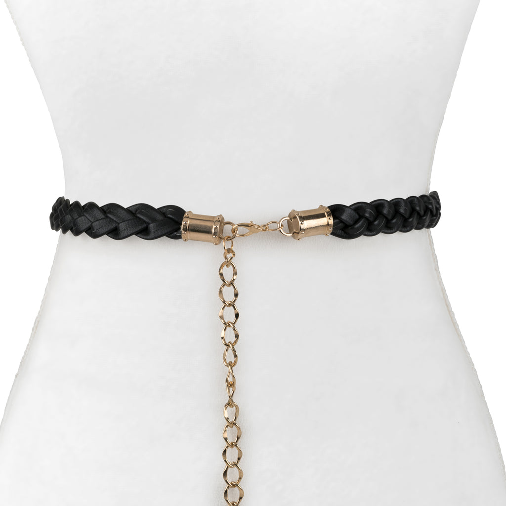 Braided Leather Belt With Chain - Two 12 Fashion
