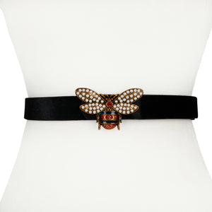 Vegan Pony Hair and Leather Waist Belt with Bee Buckle - Two 12 Fashion
