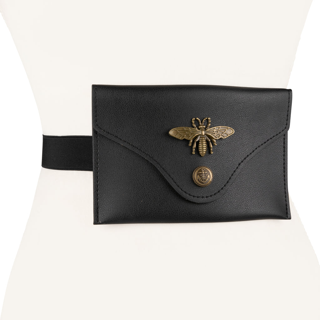 Women's Vegan Leather Waist Fanny Pack with Dragonfly Accent - Two 12 Fashion