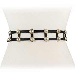 Two 12 Fashion Women's Designer Double Pearl Stretch Belt - Two 12 Fashion