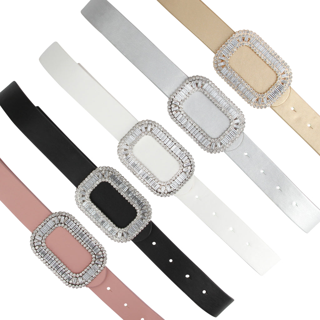 Two 12 Fashion Women's Designer Crystal Buckle belt - Two 12 Fashion
