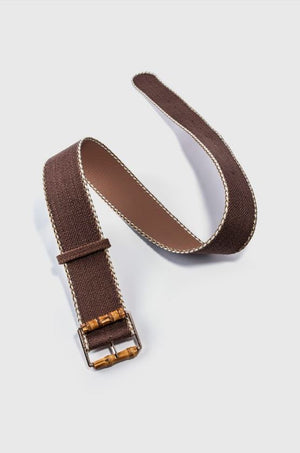 Wood Buckle Wicker Belt - Two 12 Fashion