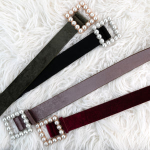 Pearl Square Velour Belt - Two 12 Fashion