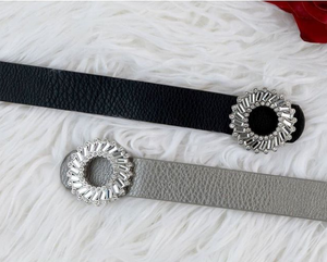 Round Baguette Buckle Belt - Two 12 Fashion