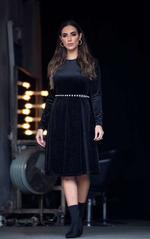 Shimmer Velvet Dress (Black) - Two 12 Fashion