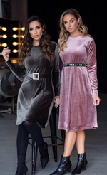 Shimmer Velvet Dress (Mauve) - Two 12 Fashion