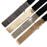 Center-Scaled Texturized Metallic Stretch Belt - Two 12 Fashion