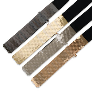 Two 12 Fashion Women's Center-Scaled Texturized Metallic Stretch Belt - Two 12 Fashion