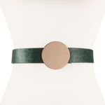 Two 12 Fashion Women's Vegan Pony Hair Belt with Gold Round Buckle - Two 12 Fashion