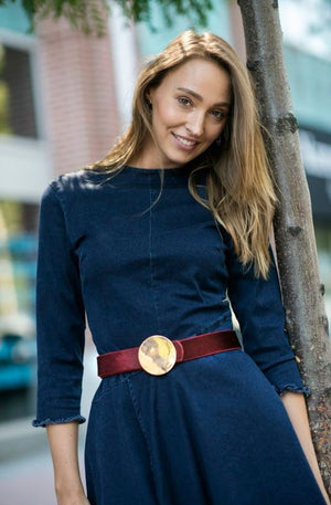Vegan Pony Hair Belt with Gold Round Buckle - Two 12 Fashion