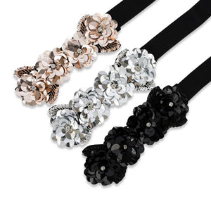 Two 12 Fashion Women's Floral Sequin Belt - Two 12 Fashion