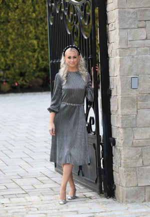 Metallic Pleated Dress - Two 12 Fashion