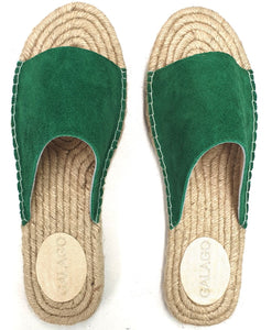 Green suede leather