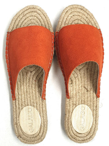 Orange  suede leather